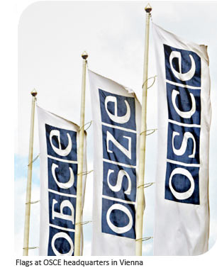 Flags at OSCE headquarters in Vienna